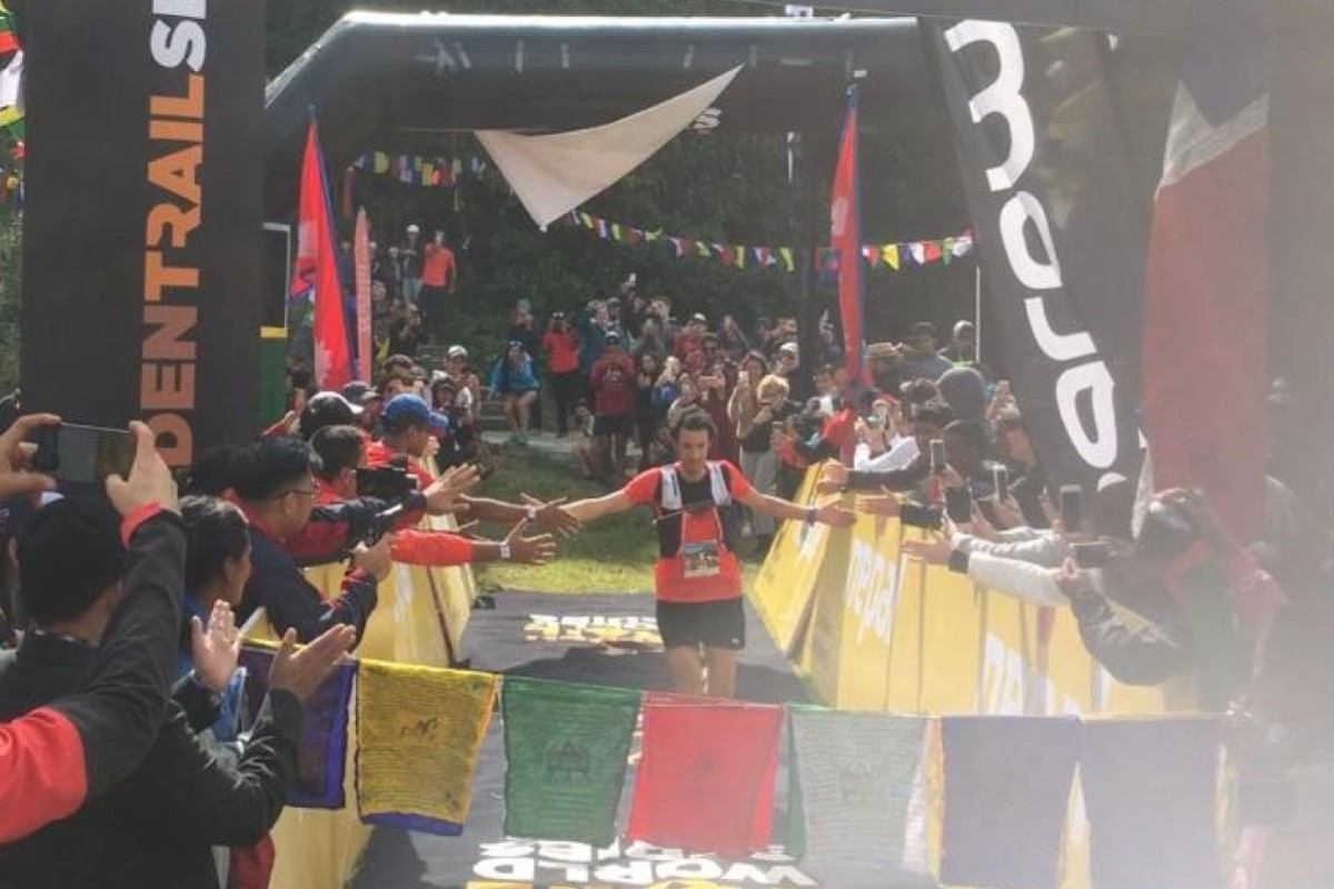 Kilian Jornet crosses the line first to win the Golden Trail Series. Photo: Mark Agnew