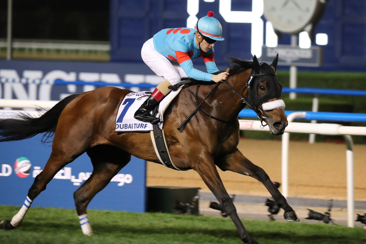 Almond Eye wins the Dubai Turf at Meydan in March. Photos: Kenneth Chan