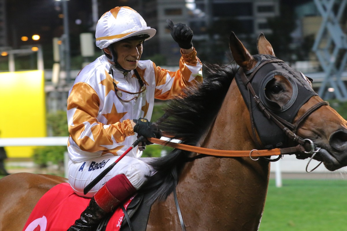 Alexis Badel after winning on Wishful Thinker at Happy Valley. Photos: Kenneth Chan