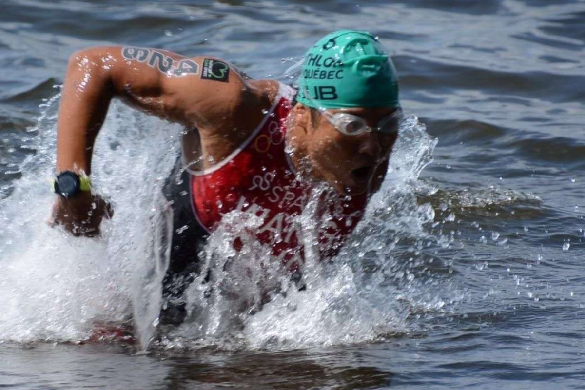 Wang Jiachao exiting the water on his way to winning the 2019 paratriathlon World Cup in Magog, Canada, in the PTS4 category. Photos: Handouts