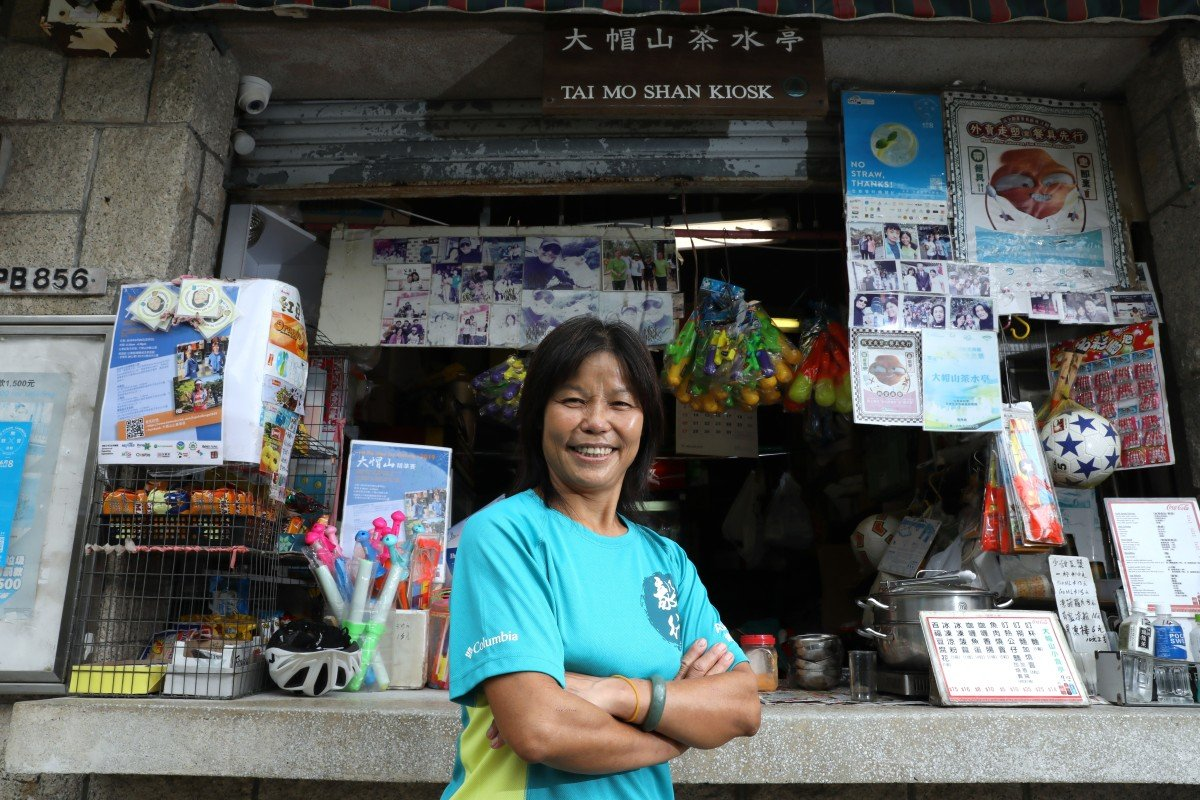 Connie Kong For-lin has operated the Tai Mo Shan Kiosk for 24 years and become a 'landmark' for runners and hikers. Photso: K.Y. Cheng