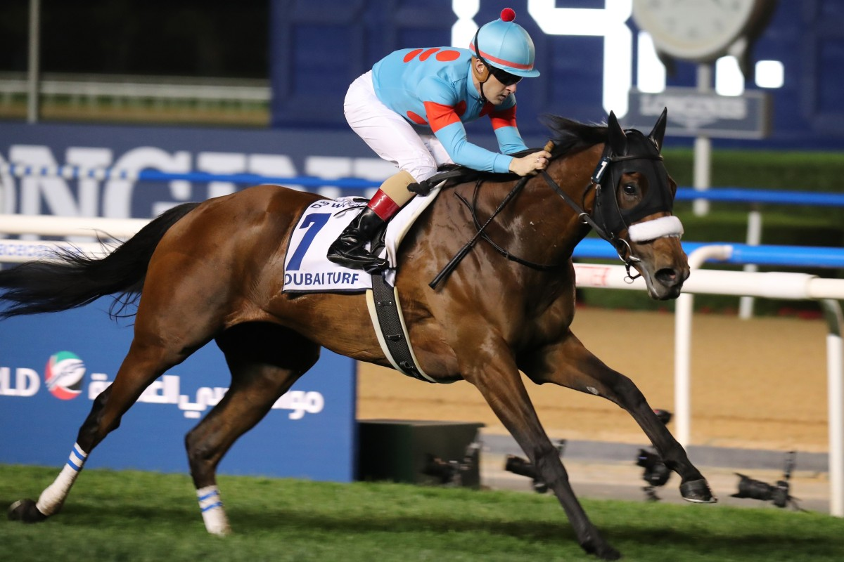 Christophe Lemaire guides Almond Eye to victory in the Dubai Turf. Photos: Kenneth Chan