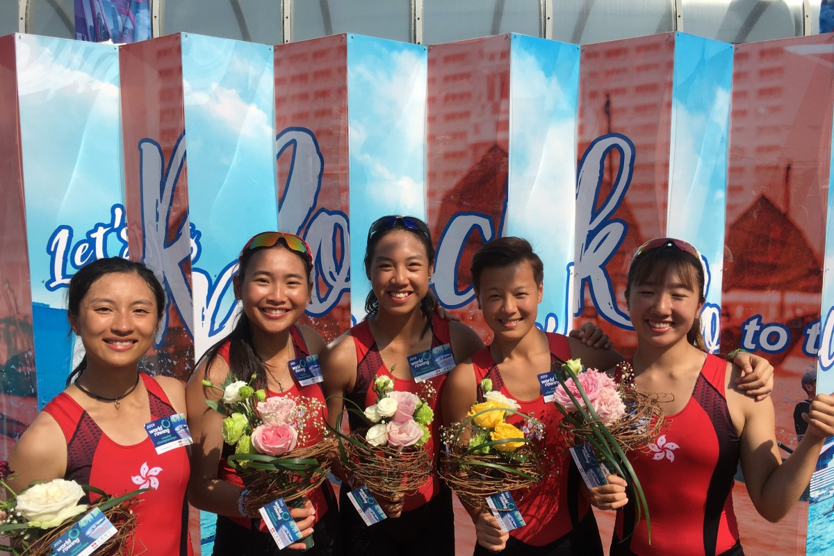 The women's quad wins gold at the World Rowing Coastal Championships. From left: Wong Sheung-yee, Leung King-wan, Hung Wing-yan-winne, cox Tse Yan-man and Leung Wing-wun