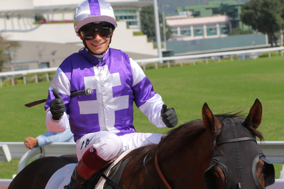 Alexis Badel is all smiles after winning aboard Unicornbaby. Photos: Kenneth Chan.