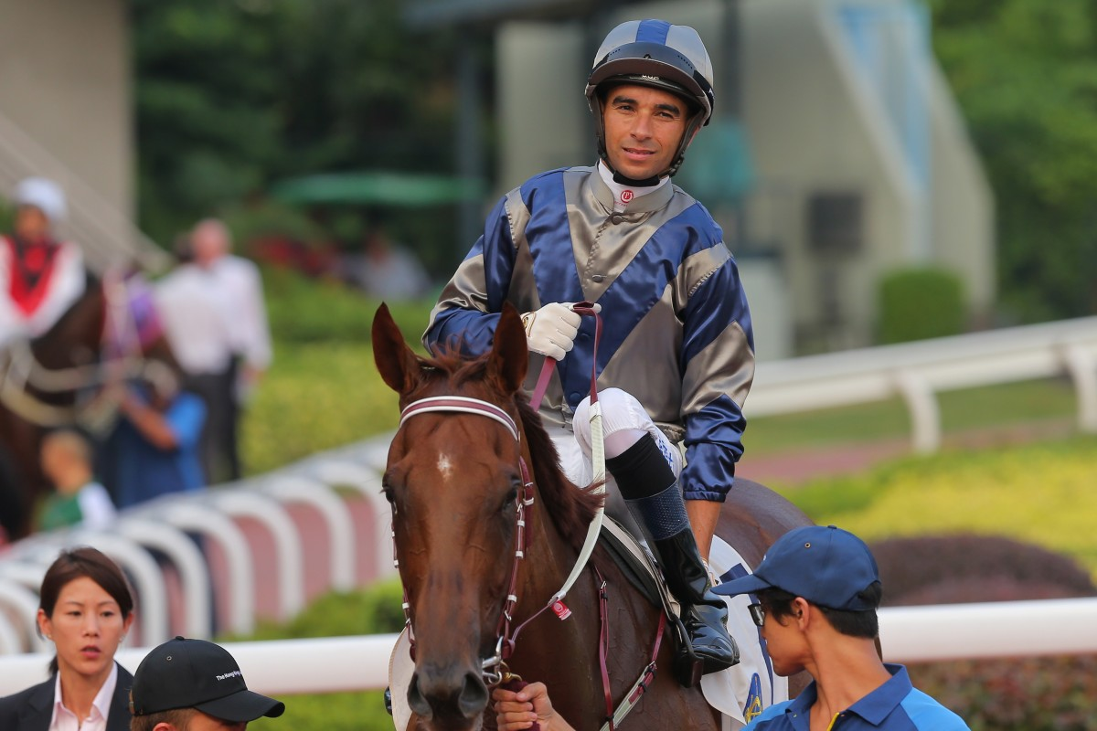 Joao Moreira after winning on Aethero at Sha Tin. Photos: Kenneth Chan