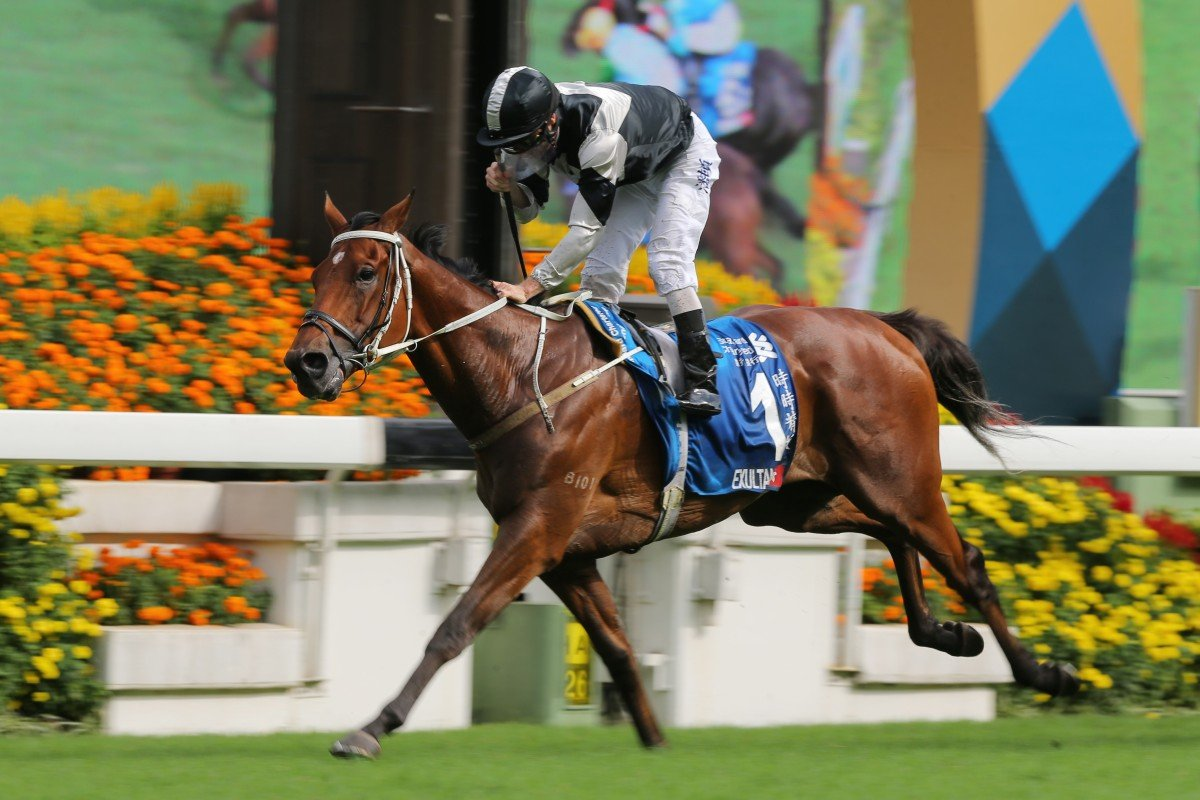 Exultant wins the Group One Champions & Chater Cup in May. Photos: Kenneth Chan
