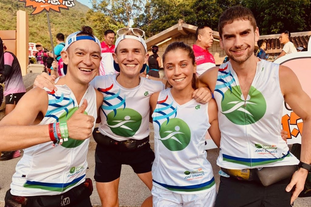 (From let) John Ellis, Tom Robertshaw, Veronika Vadovičová and Ryan Whelan set the unofficial record at the Oxfam Trailwalker in 2019. They ran the course in 12:45 on the day the race was meant to be held, despite it being cancelled owing to ongoing protests. Photo: Handout