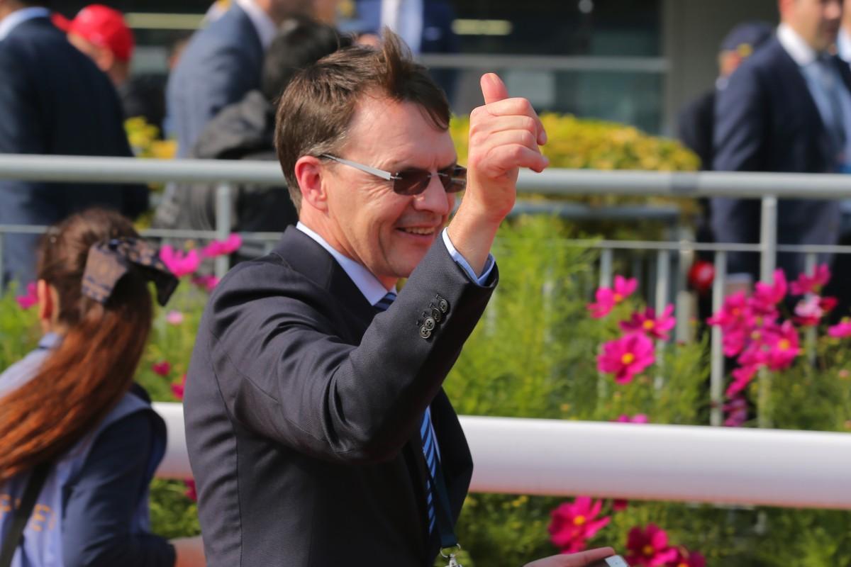 Star trainer Aidan O'Brien enjoys a win at Sha Tin. Photo: Kenneth Chan