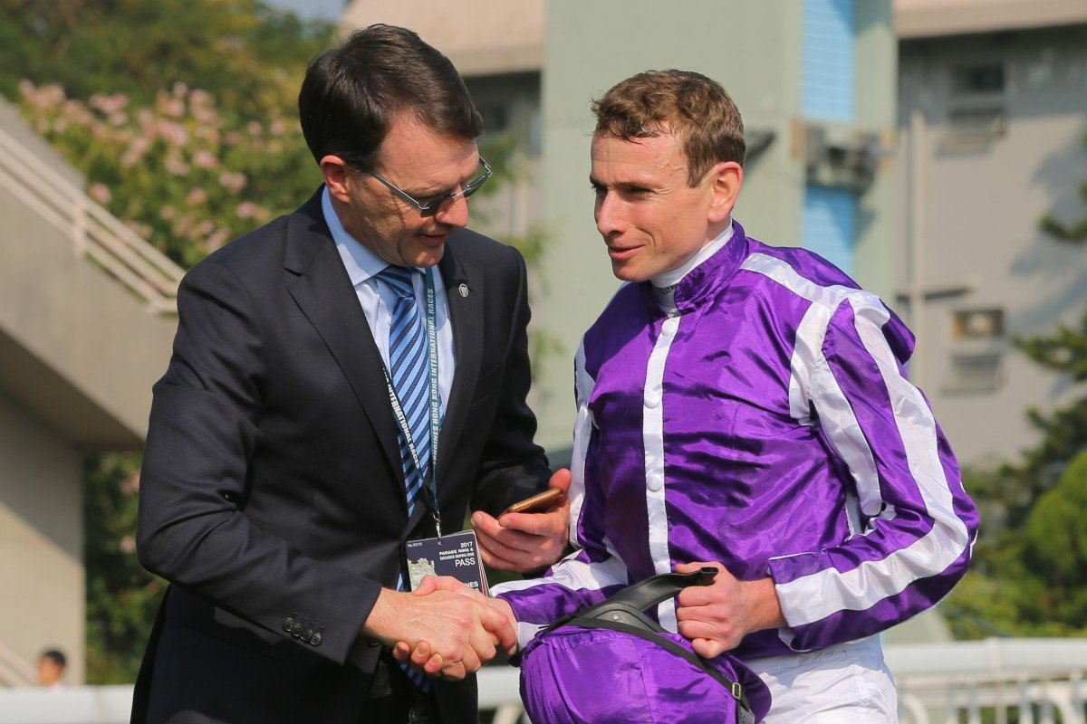 Trainer Aidan O'Brien and Ryan Moore after winning the Hong Kong Vase on Highland Reel. Photos: Kenneth Chan