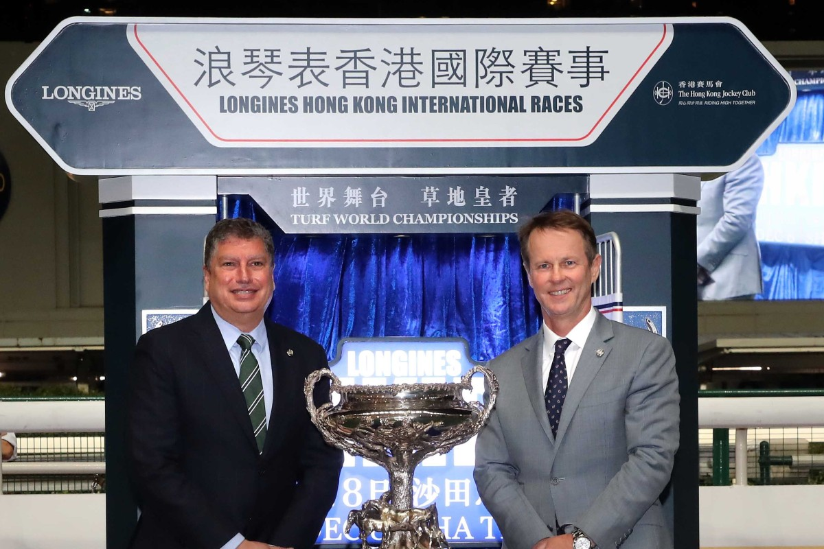 Jockey Club officials Bill Nader (left) and Andrew Harding kick off the Hong Kong International Races field announcements. Photo: HKJC
