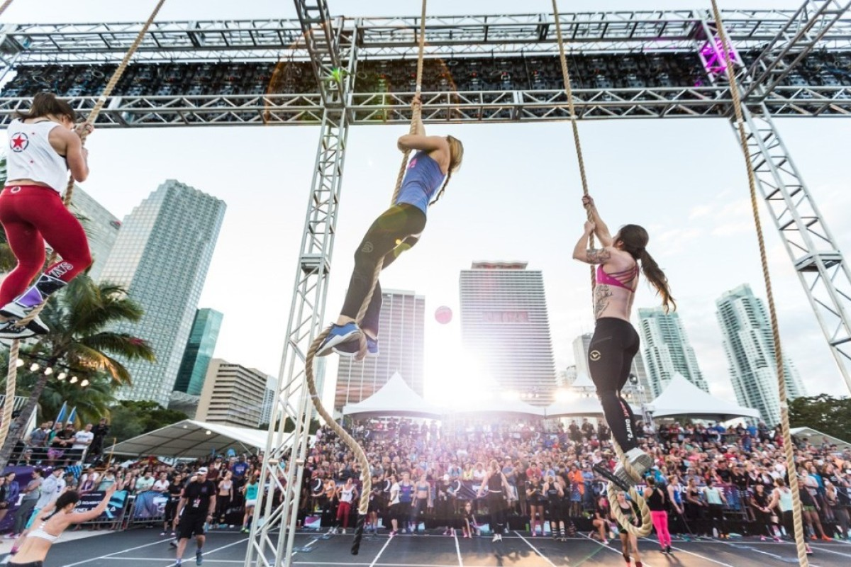 Athletes face rope climbs on day two of the Filthy 150. Photo: CrossFit Games