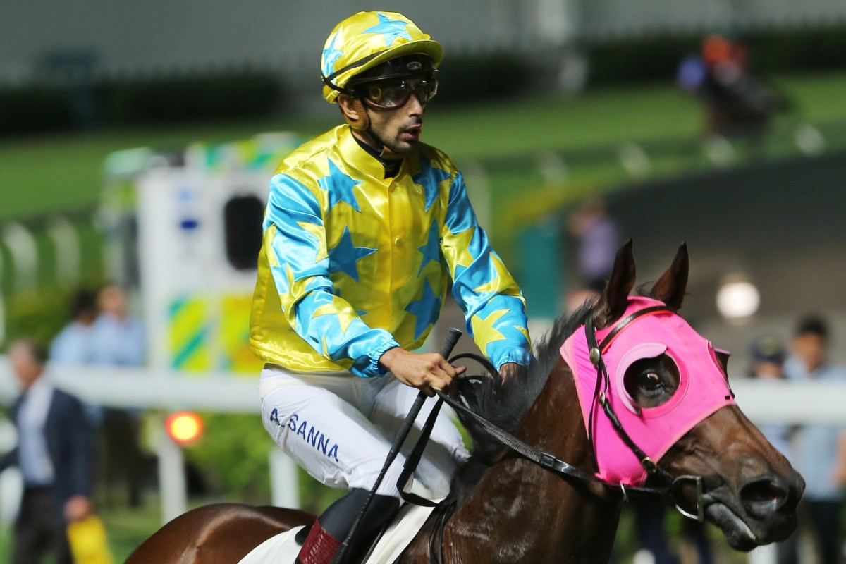 Alberto Sanna returns to scale after winning on Golden Kid on Wednesday night. Photo: Kenneth Chan