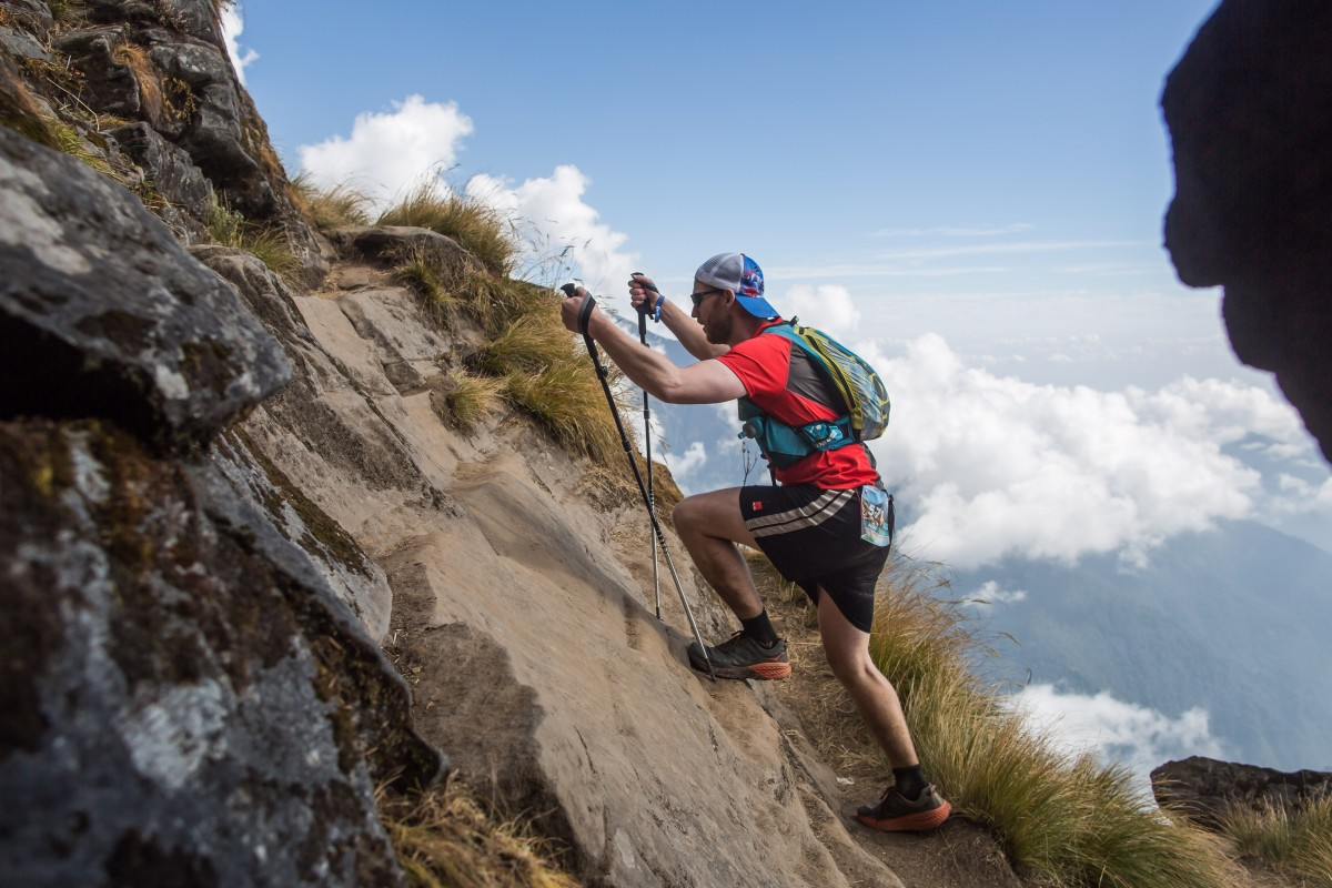 Climbing during the Annapurna 55km, but it is the long downhill that often causes injury. Photo: Flawsome Pictures