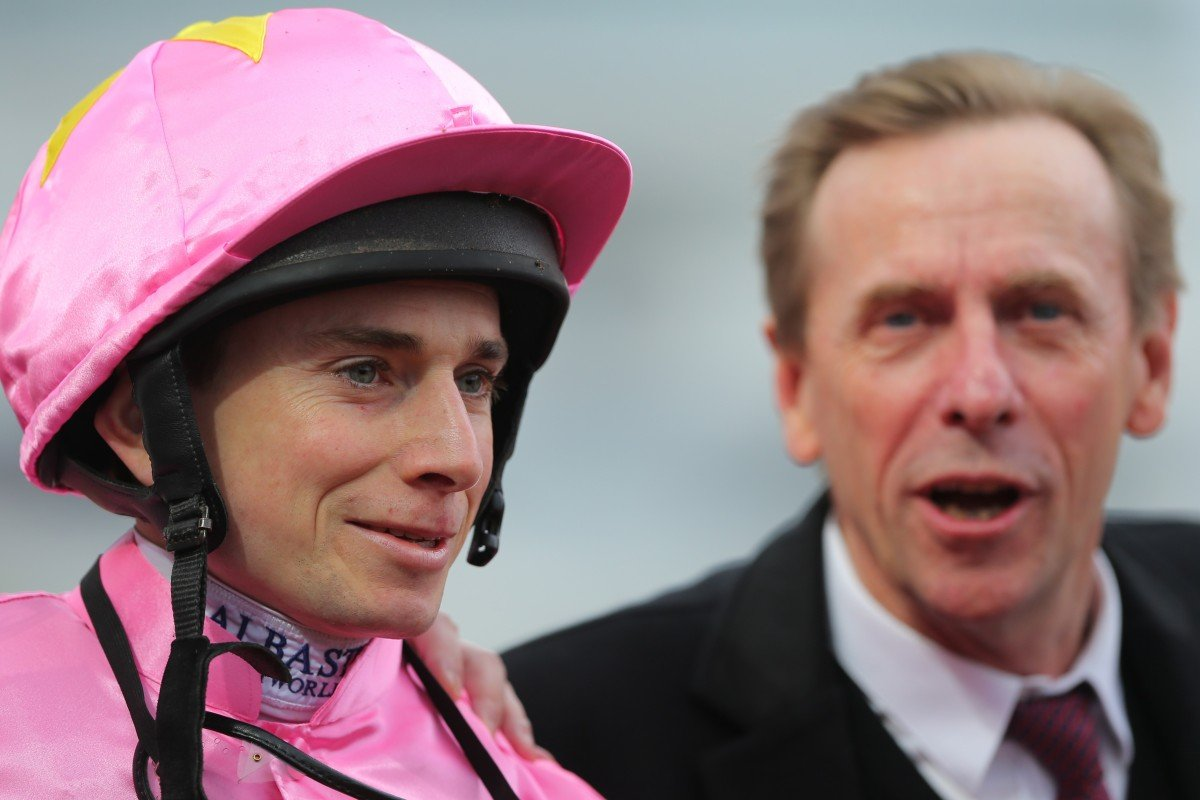 Jockey Ryan Moore with trainer John Size after winning at Sha Tin. Photos: Kenneth Chan
