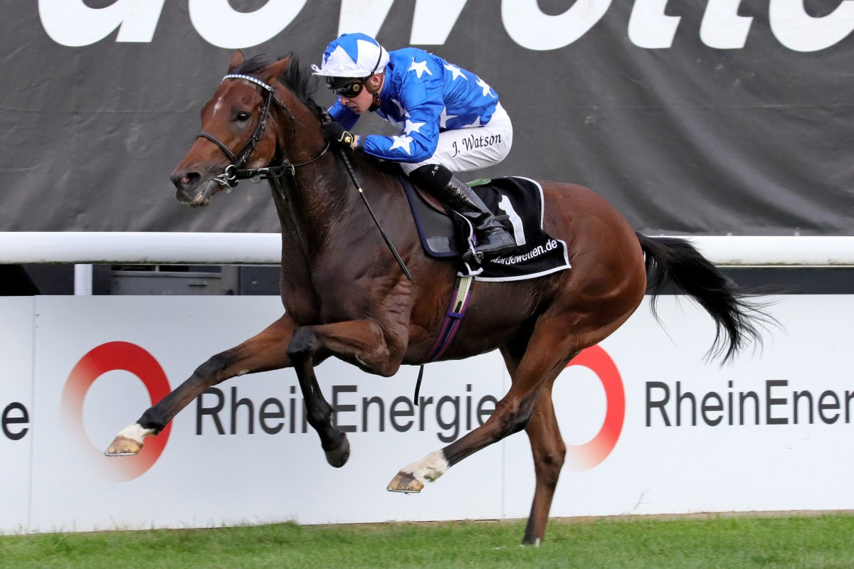 Aspetar and Jason Watson win the Preis von Europa at Cologne racecourse, Germany. Photo: Racingfotos.com
