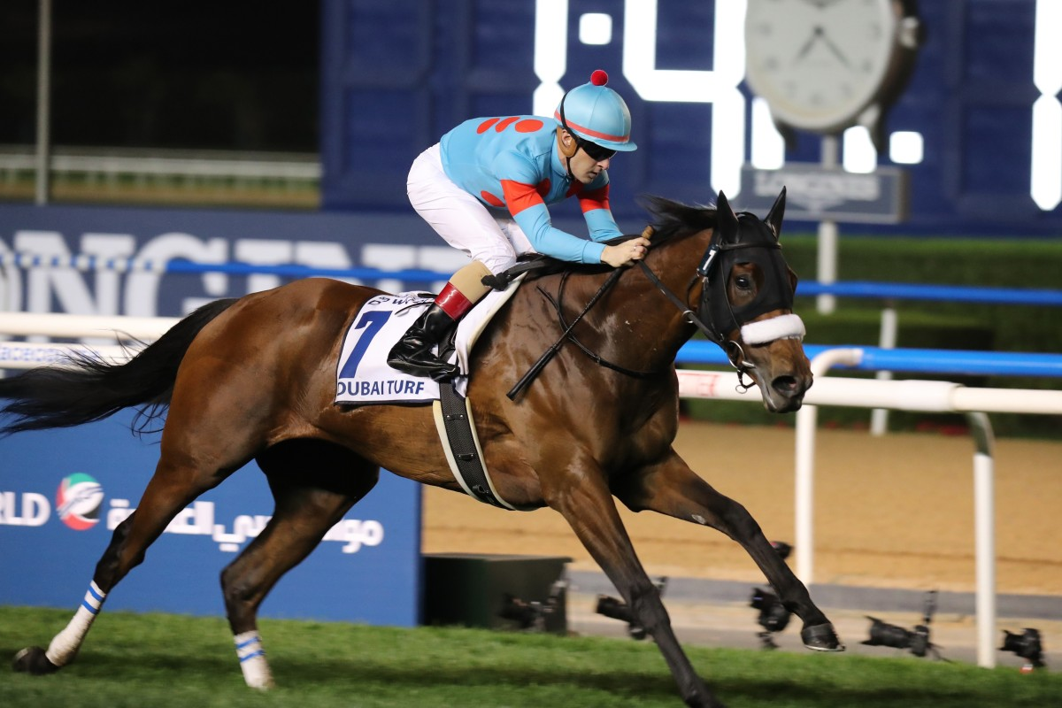 Almond Eye, ridden by Christophe Lemaire, wins in Dubai. Photos: Kenneth Chan