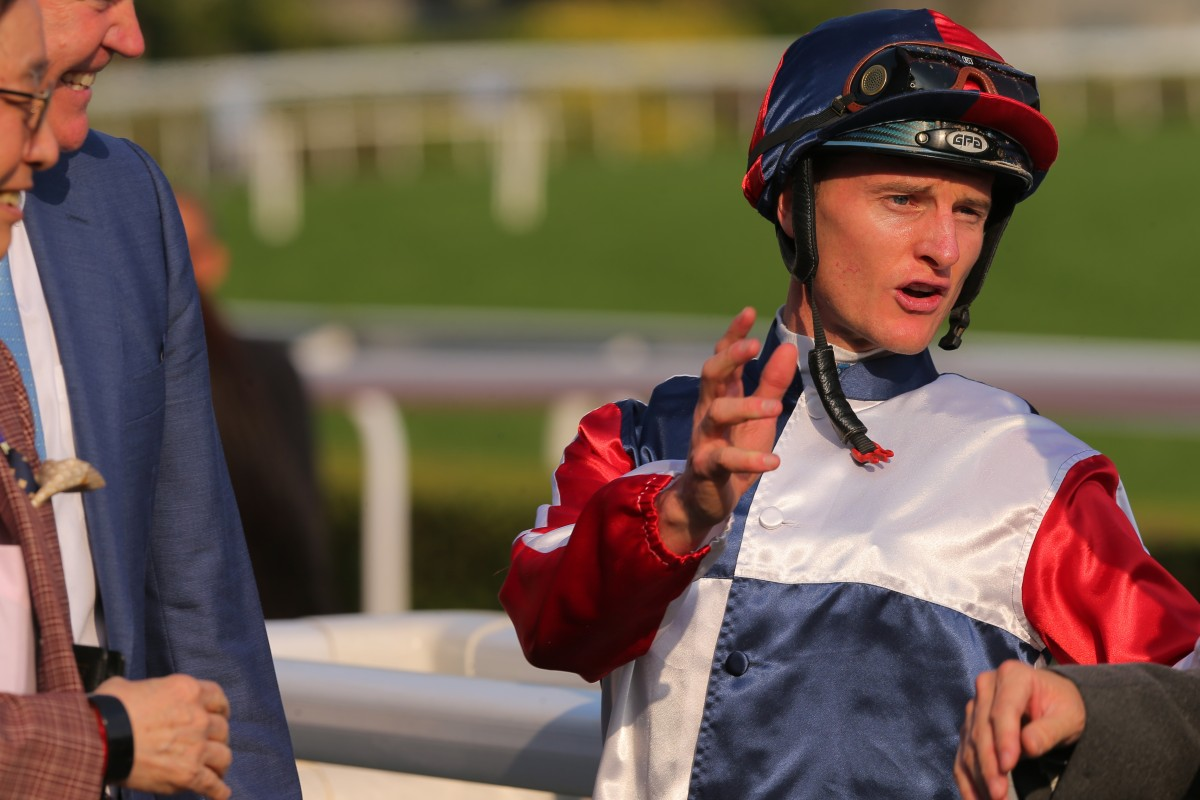 Zac Purton at Sha Tin after riding a winner before being suspended. Photos: Kenneth Chan