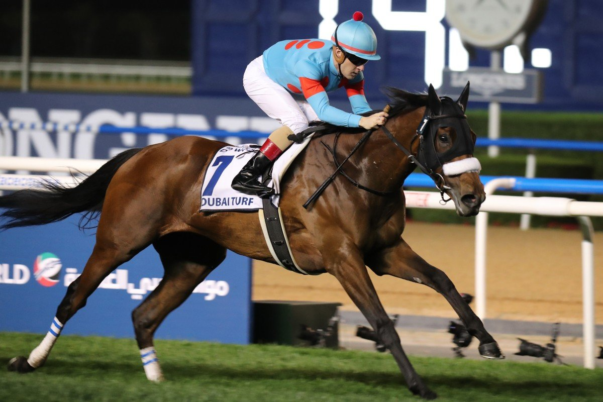 Almond Eyes wins the Group One Dubai Turf in March. Photos: Kenneth Chan