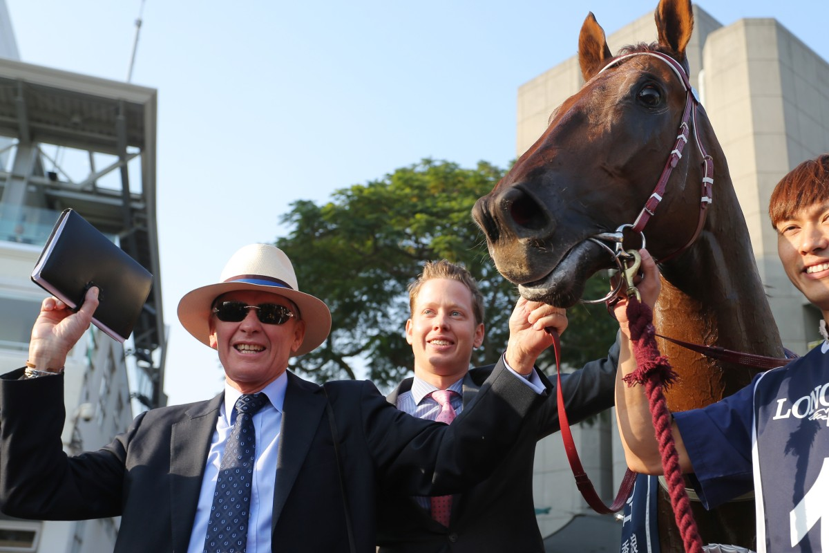 Trainer John Moore with Able Friend after his champion won the 2014 Hong Kong Mile. Photos: Kenneth Chan