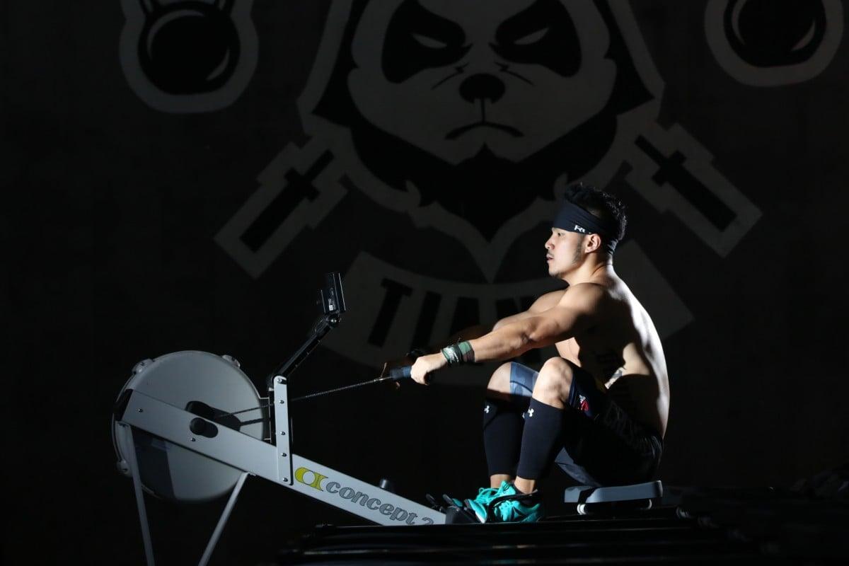 Eric Zhu Chen on a rowing machine at CrossFit Tianfu in Chengdu. Photo: Handout