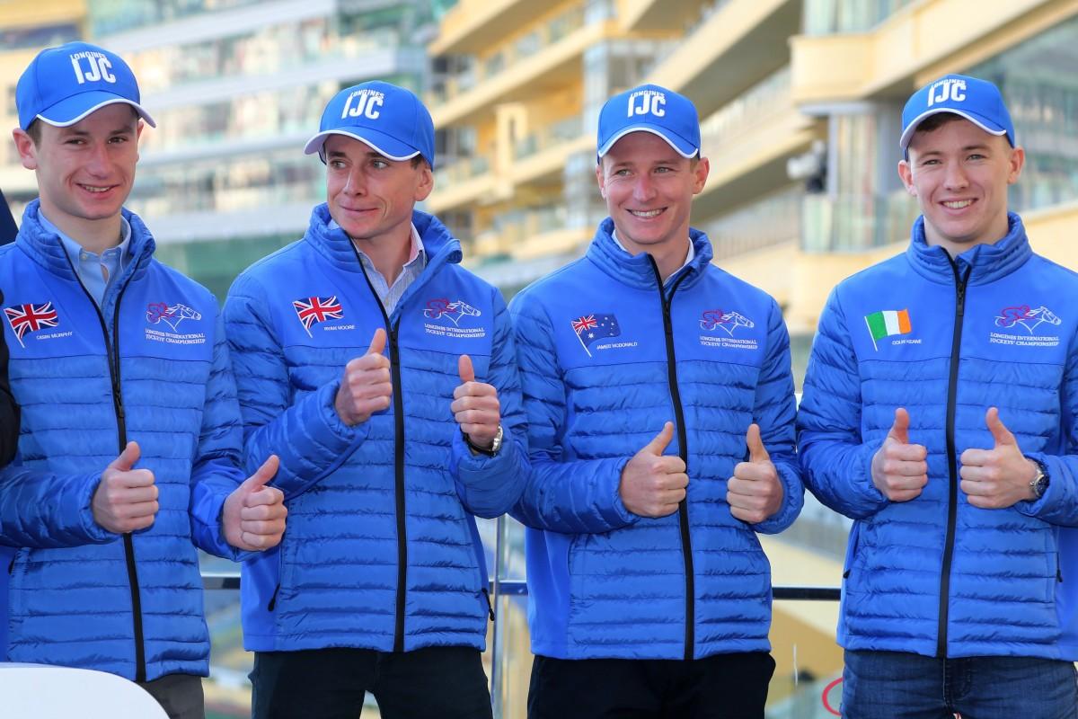 Oisin Murphy, Ryan Moore, James McDonald, Colin Keane are all smiles at the International Jockeys' Championship launch on Tuesday. Photo: Kenneth Chan