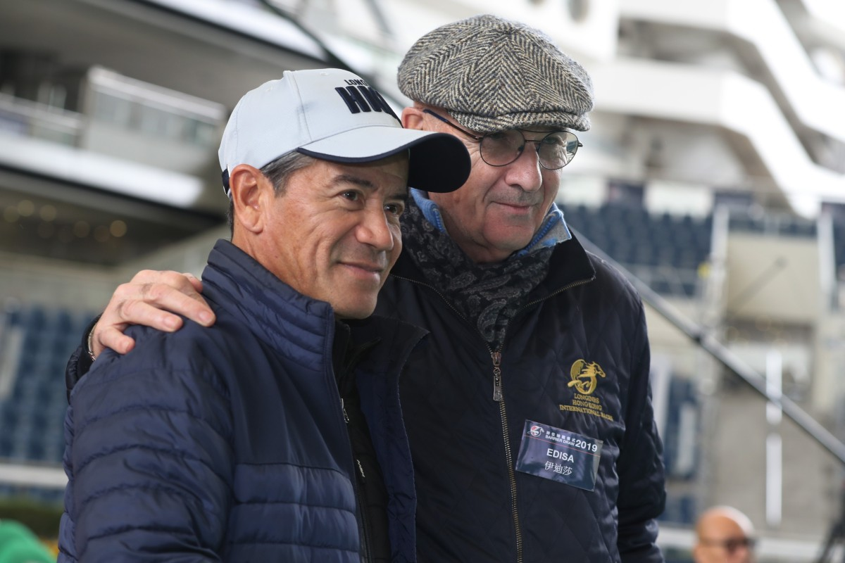 Tony Cruz with Alain de Royer Dupre at the HKIR barrier draw on Thursday morning. Photos: Kenneth Chan