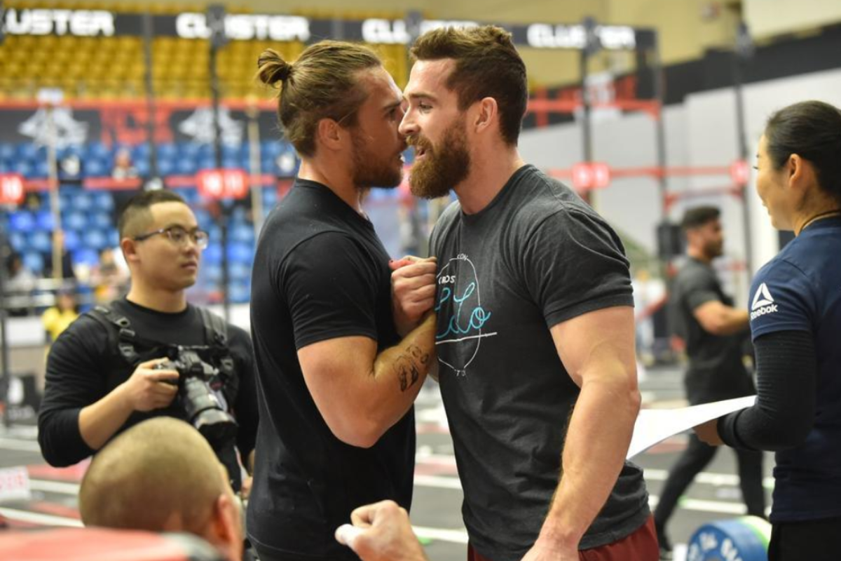 Adam Davidson (right) shakes hands with Khan Porter at the Pandaland CrossFit Challenge in Chengdu. Photo: Pandaland CrossFit Challenge