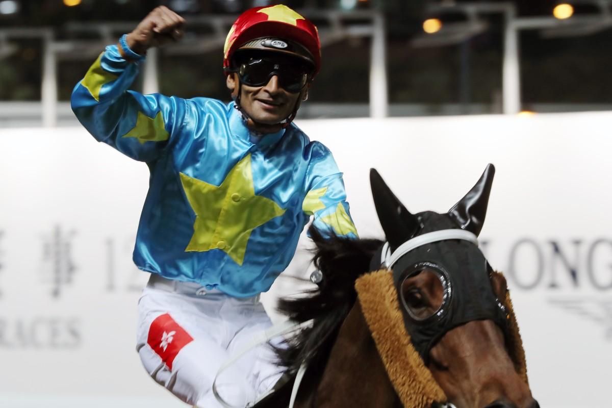 Karis Teetan returns after winning at Happy Valley during the International Jockeys' Championship. Photos: Kenneth Chan