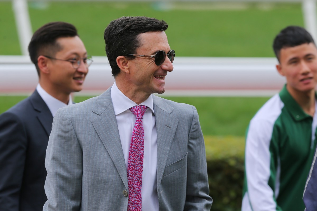 Douglas Whyte is all smiles after Xponential's victory at Sha Tin on Saturday. Photos: Kenneth Chan