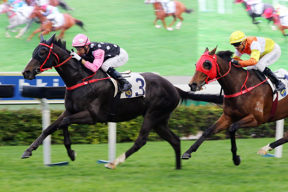 Beauty Legacy surges to victory on his Hong Kong debut at Sha Tin on Sunday. Photos: Kenneth Chan