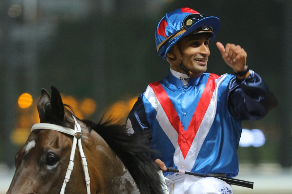 Karis Teetan is all smiles after saluting aboard Flying Genius. Photos: Kenneth Chan