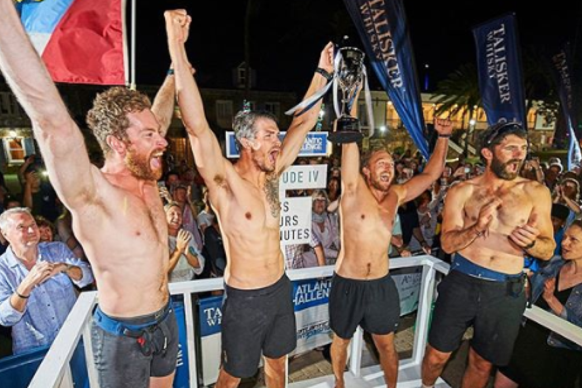 From right: Hugh Gilum, Max Breet, Oliver Palmer and Tom Foley win the Talisker Whisky Atlantic Challenge 2019. Photo: Ben Duffy