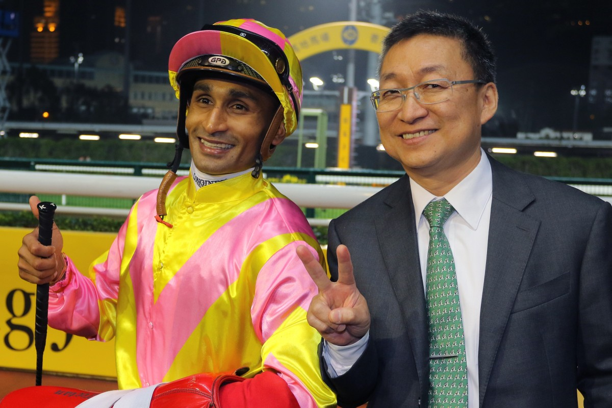 Karis Teetan and Francis Lui are all smiles after combining for a double on Wednesday night. Photo: Kenneth Chan