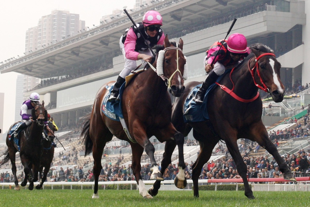 Beauty Generation and Waikuku hit the line in Sunday's Group One Stewards' Cup at Sha Tin. Photos: Kenneth Chan