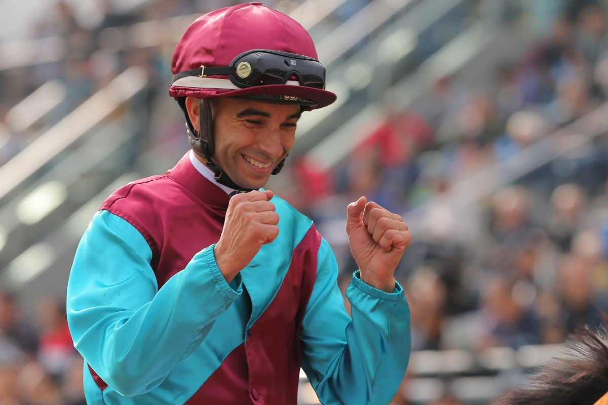 Joao Moreira celebrates his win on Beat The Clock at Sha Tin on Sunday. Photos: Kenneth Chan
