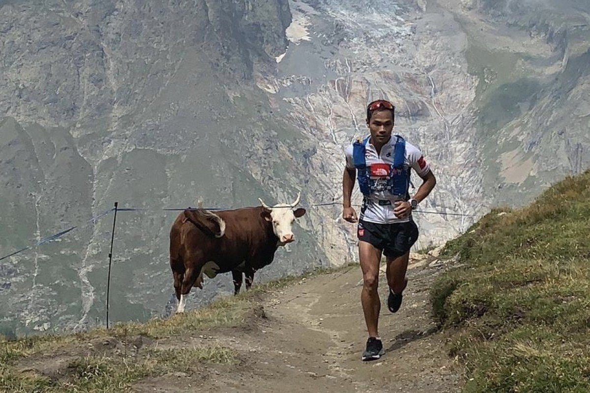 Wong Ho-chung training in Chamonix before the Ultra Trail du Mont Blanc. Photo: The North Face Adventure Team