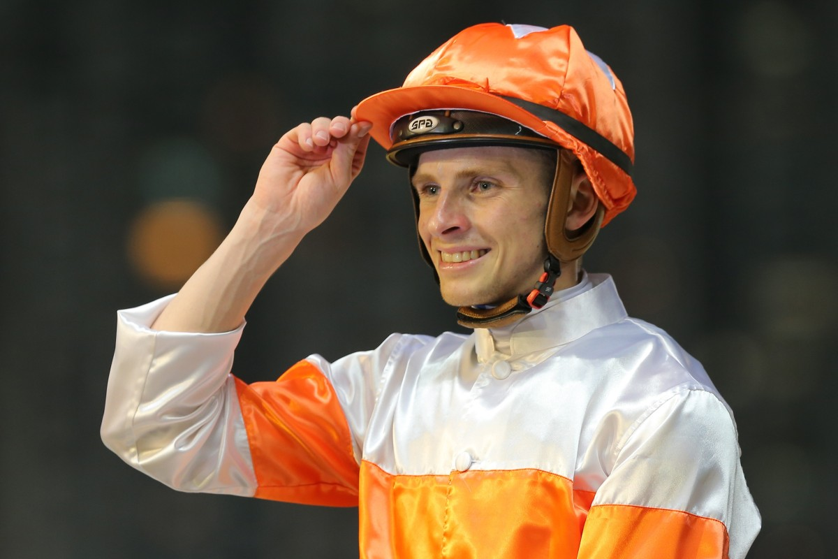 Lyle Hewitson celebrates his win aboard Kiram on Wednesday night. Photos: Kenneth Chan