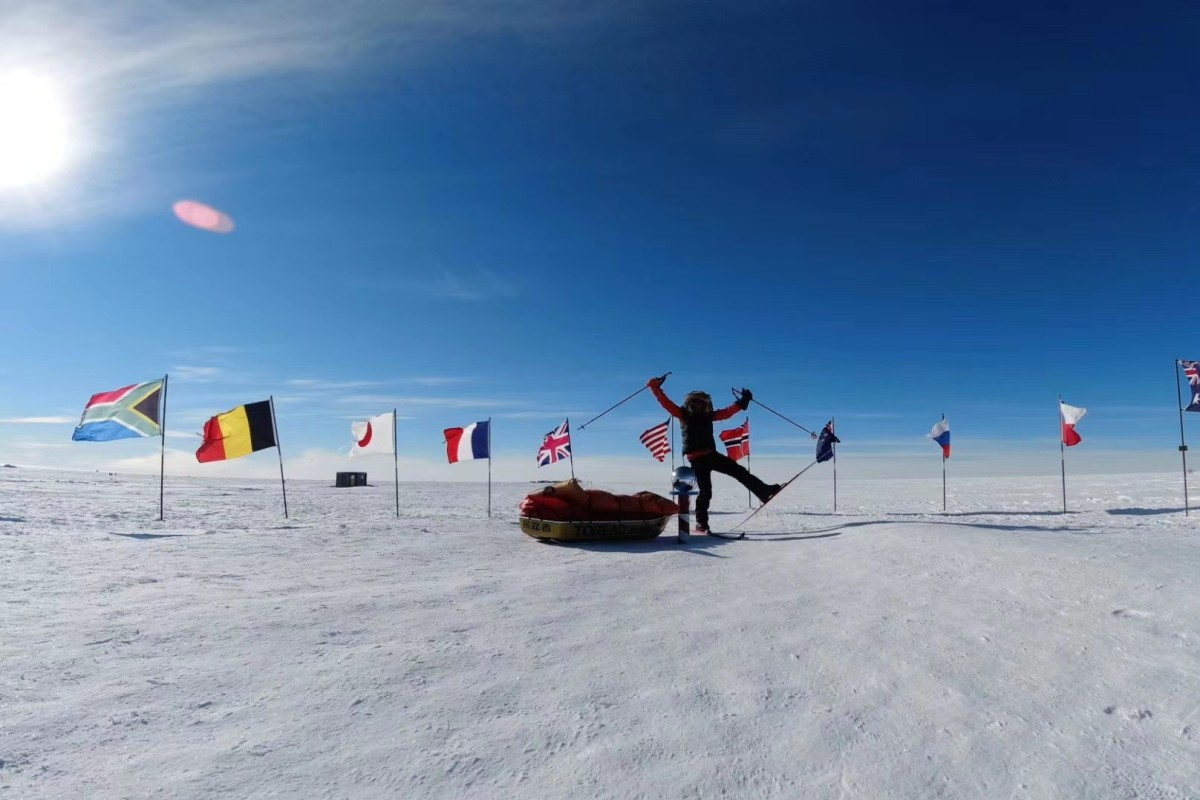 Wen Xu becomes the first Chinese person to walk to the South Pole. Photo: Polar Hub