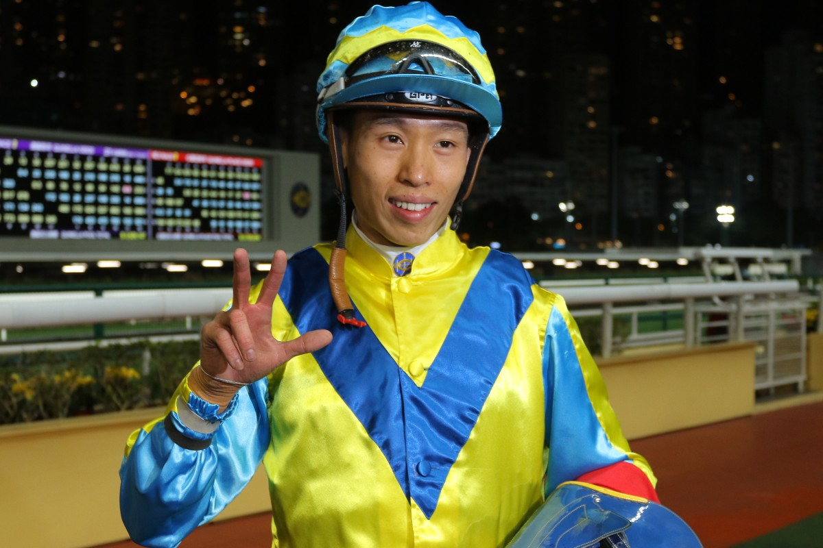Leading local jockey Vincent Ho collects his 300th Hong Kong winner at Happy Valley on Wednesday night. Photos: Kenneth Chan