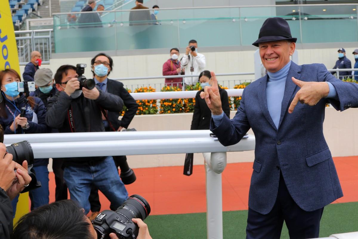 John Moore celebrates his 1,700th career winner at Sha Tin on Saturday. Photos: Kenneth Chan