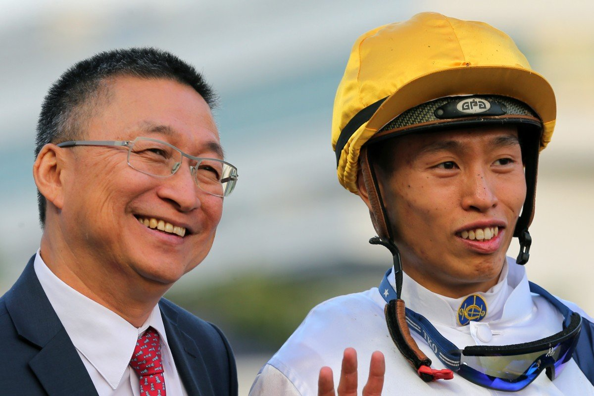 Trainer Francis Lui and jockey Vincent Ho celebrate one of Golden Sixty's wins. Photos: Kenneth Chan