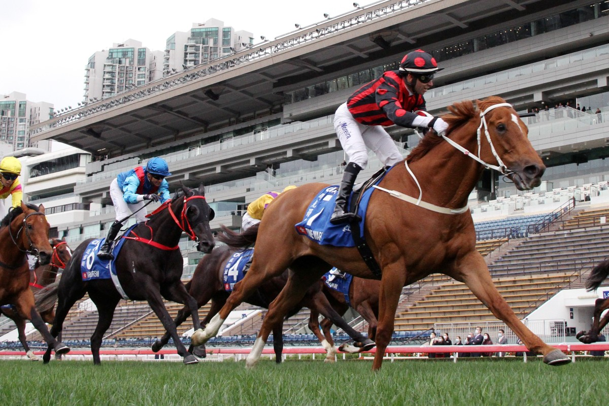 Time Warp wins the Hong Kong Gold Cup in front of an empty stand at Sha Tin on Sunday. Photos: Kenneth Chan