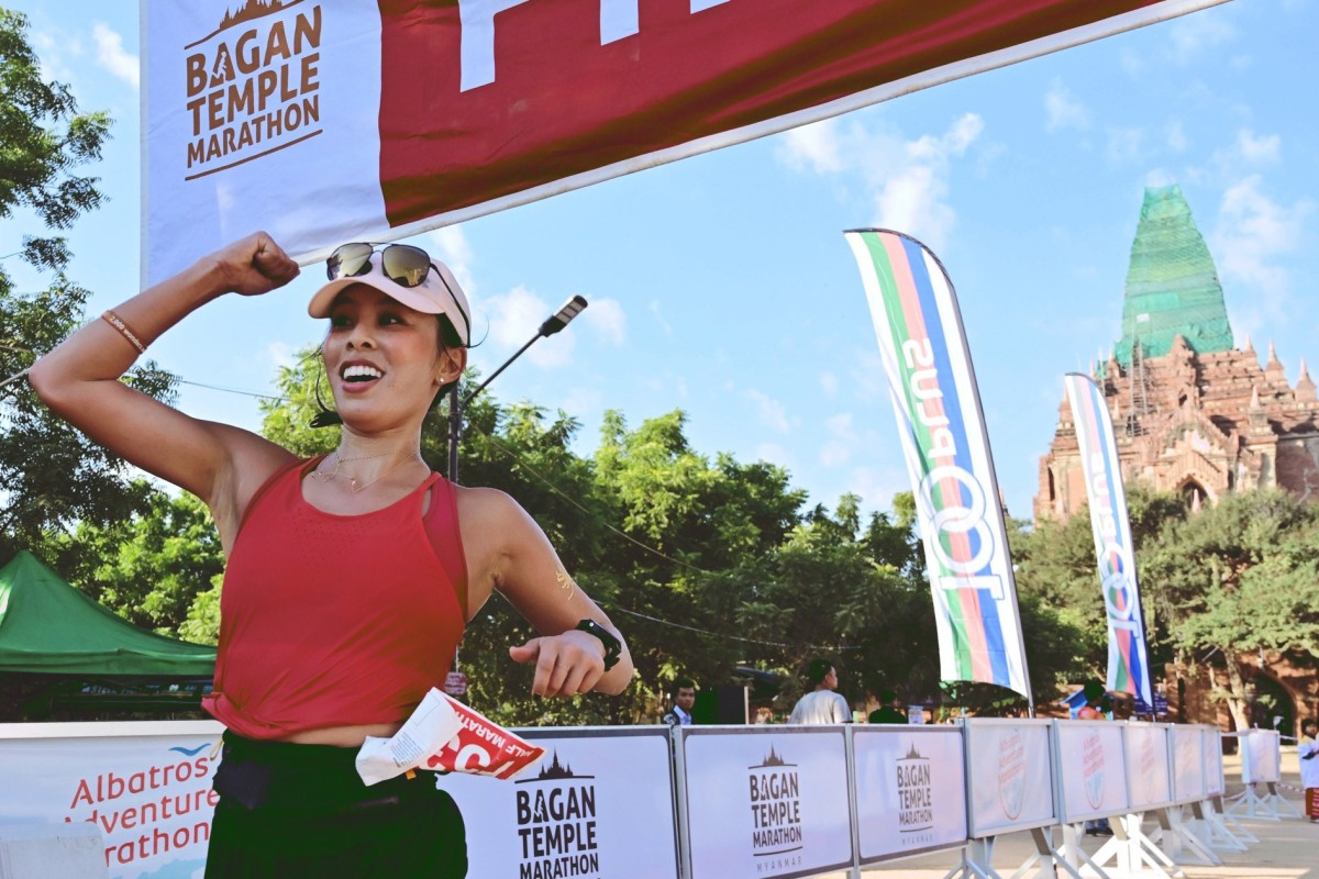 Nicky Inge finishes the Bagan Temple Marathon in Myanmar. She hopes to inspire others to enter the Running World Cup. Photo: Handout