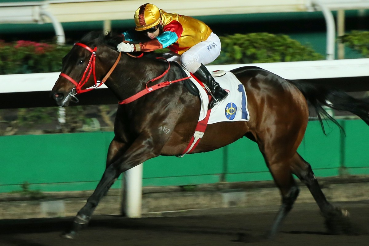 Big Time Baby dashes clear under jockey Matthew Chadwick to win at Sha Tin on Wednesday night. Photos: Kenneth Chan