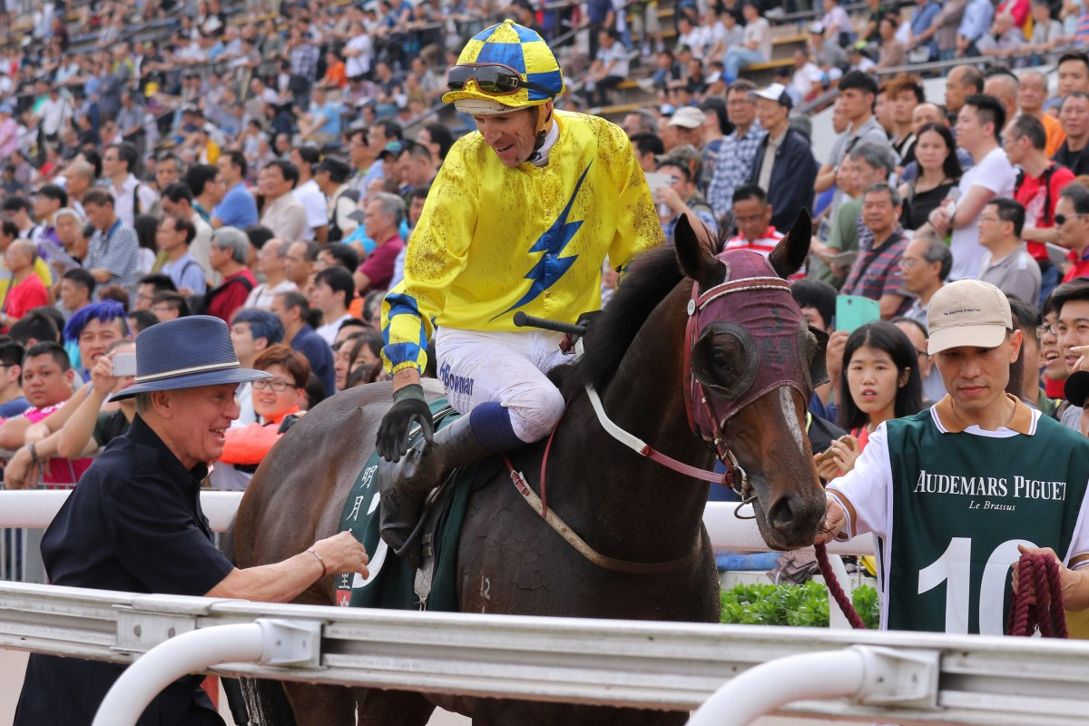 Hugh Bowman and John Moore celebrate Werther's victory at Sha Tin. Photos: Kenneth Chan