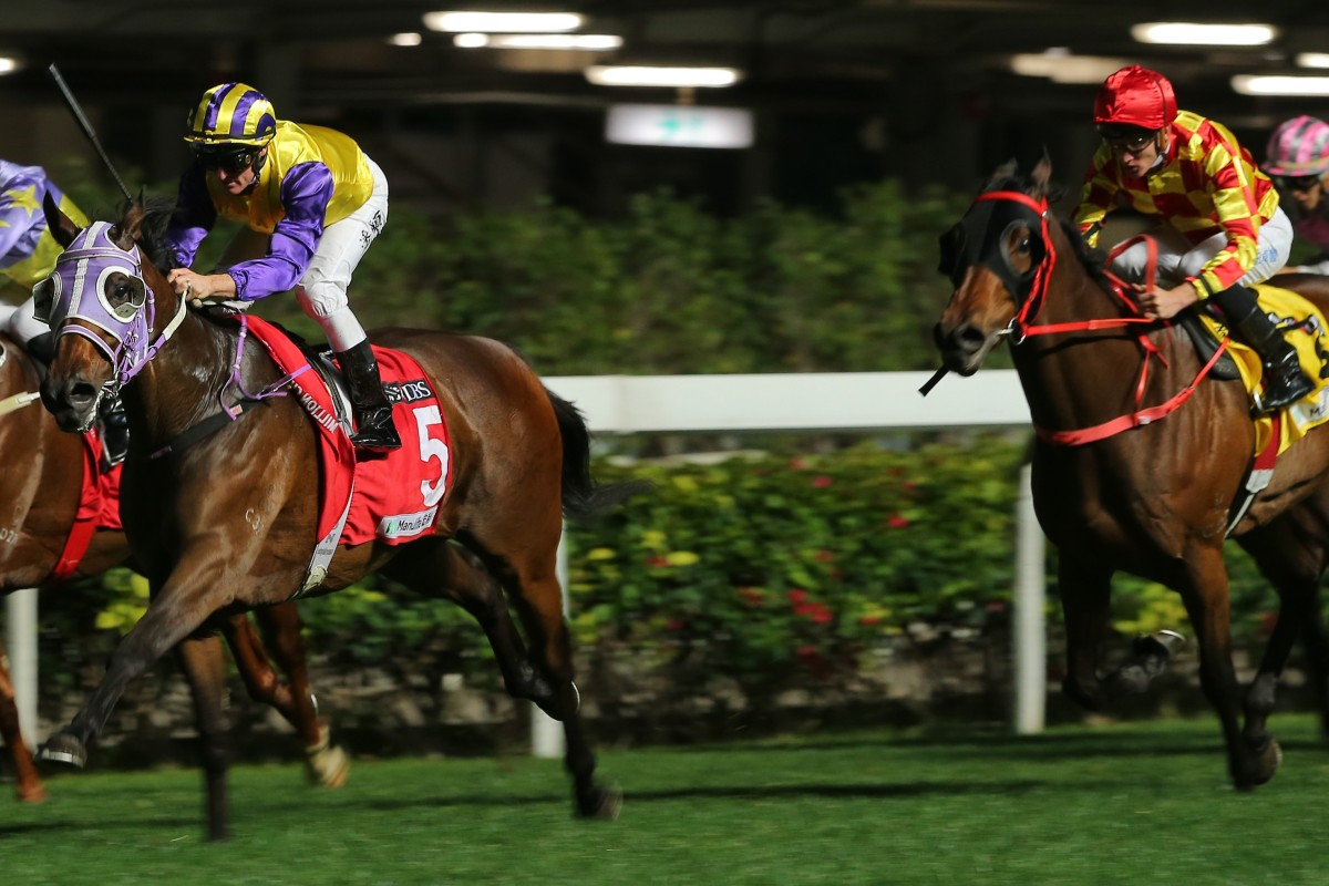 Zac Purton guides Invincible Missile to victory at Happy Valley on Wednesday night, beating Shining Ace (right). Photos: Kenneth Chan