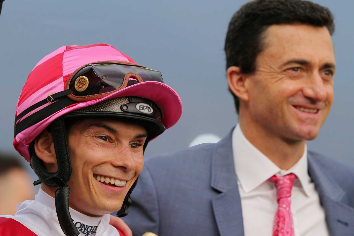 Alexis Badel and Douglas Whyte after winning with Super Wealthy at Sha Tin. Photos: Kenneth Chan