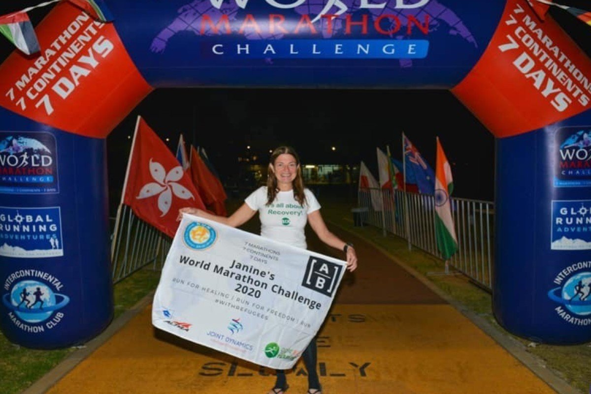 Janine Canham ran six and a half marathons in seven days on seven continents. She was forced to run half in Antarctica when weather and time conspired against her. Photos: World Marathon Challenge