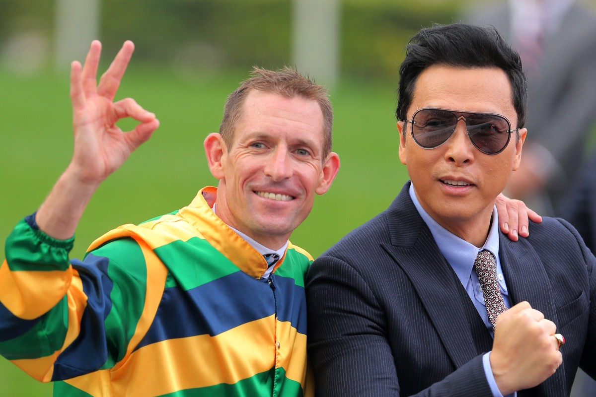 Hugh Bowman and Donnie Yen celebrate Furore's Hong Kong Derby win last season. Photos: Kenneth Chan