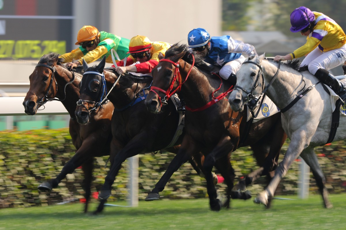 Amazing Beats (inside) edges out Columbus County at Sha Tin last month. Photos: Kenneth Chan